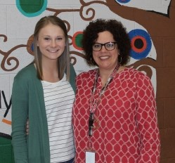 Winner Hannah Causer is shown here with her English teacher Ann Pettit.