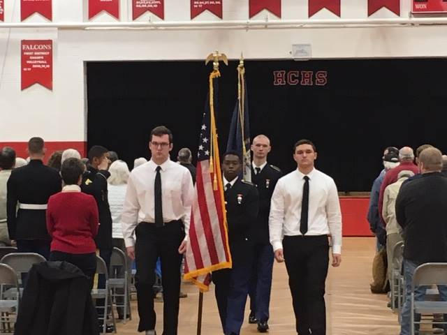 Four members of the color guard.
