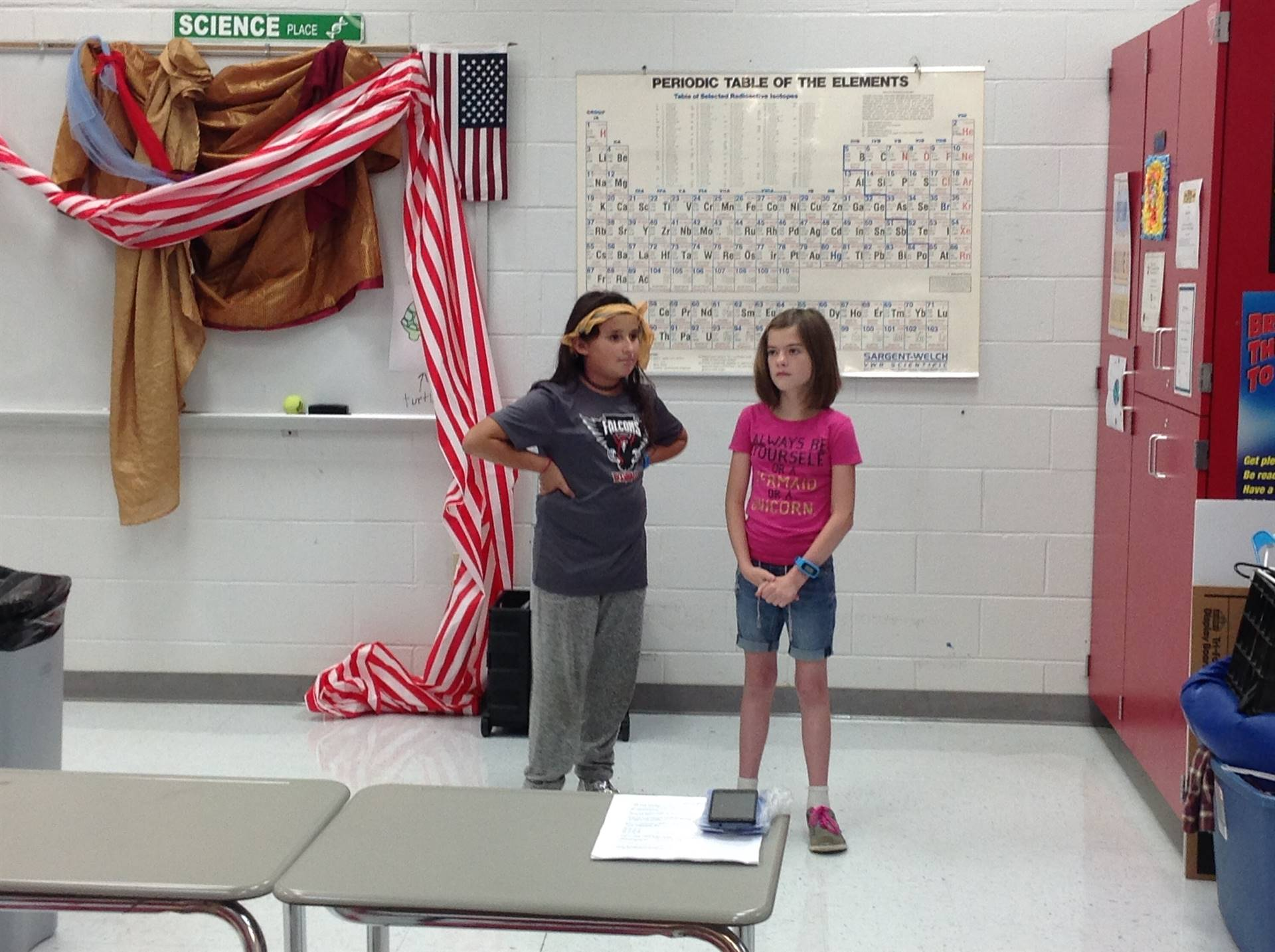 Students pair up for drama instruction.