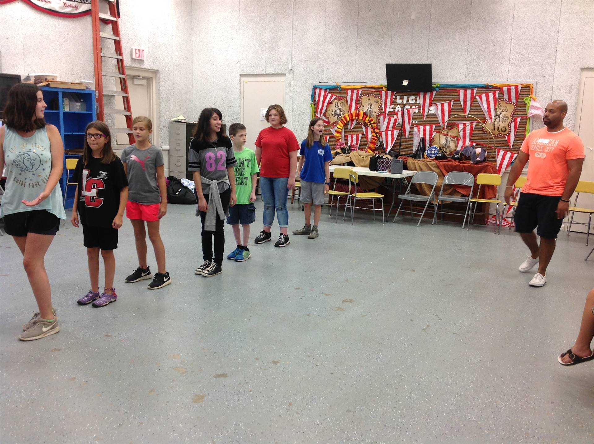 Students rehearse dance steps during MADD Camp.