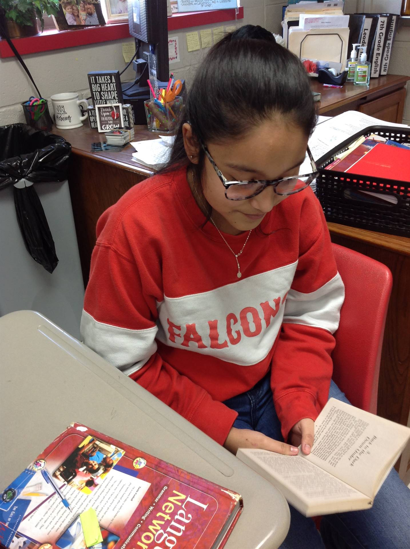 This student was caught reading.