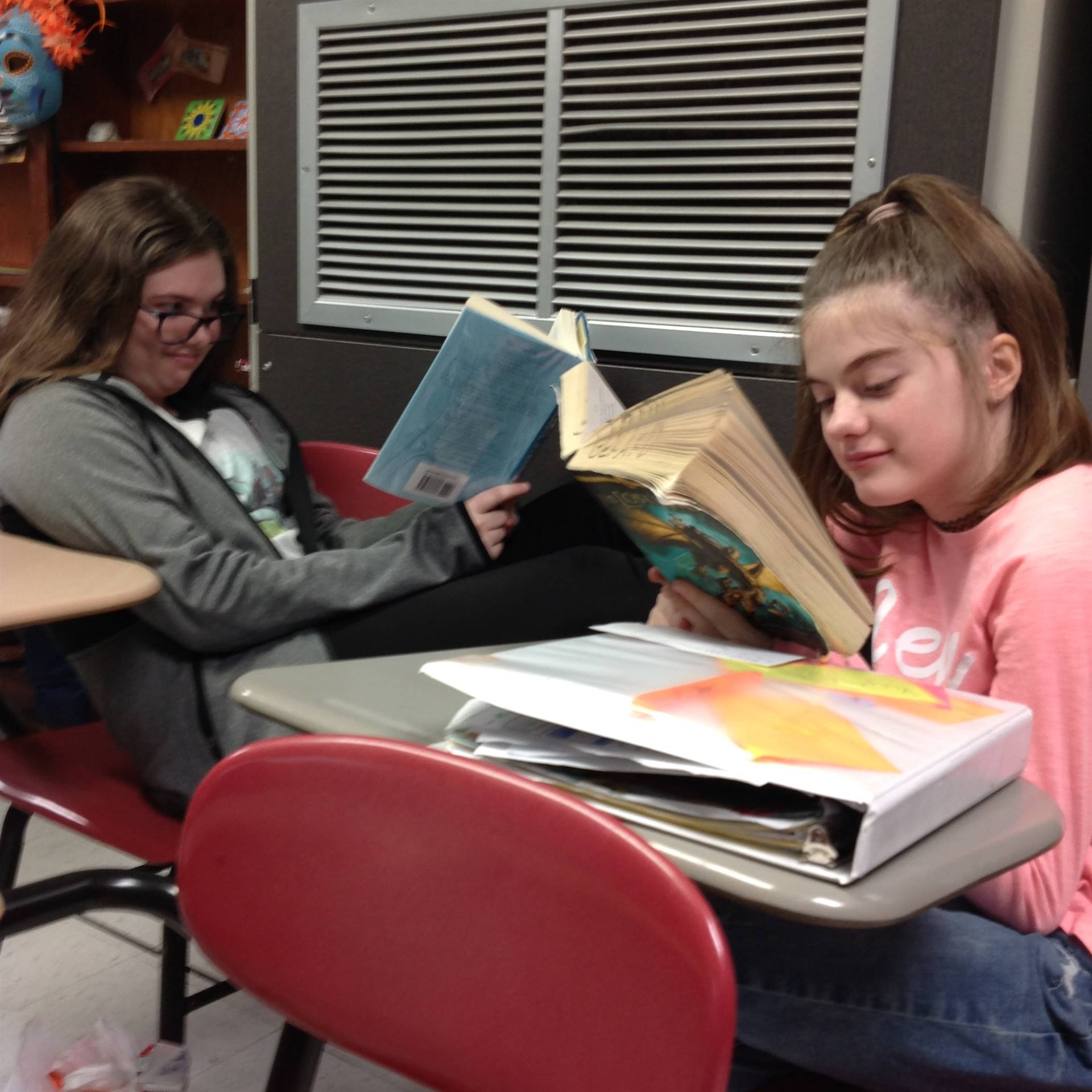 These students were caught reading.